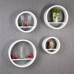 XXL Set of 4 Lounge Regal Retro 70's Circles Round Shelf Cube Wall Rack White