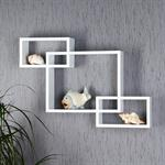 Set of 3 Wall Shelf Hanging Rack Bookcase Bookshelf CD Cube Lounge White Retro
