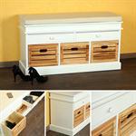 Schuhaufbewahrung Sitzbank + Schubfächer aus Holz
