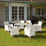 Polyrattan Garden Furniture Garden Set in White 13 Parts