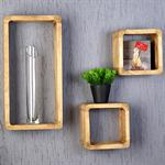Set of 3 Wall Shelf Hanging Rack Bookcase Bookshelf Cube Brown Natural-Coloured Pic:1