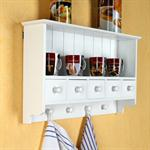 Kitchen Wall Shelf Country House Style White 4 hooks 5 drawers Pic:1