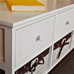 Bench 3 Drawers Settle Chest of Drawers White Country Style Wooden Bench White Pic:5