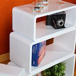 Set of 4 Wall Shelf Hanging Rack Bookcase Retro Design Cube White Pic:1