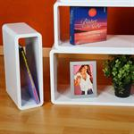 Set of 4 Wall Shelf Hanging Rack Bookcase Retro Design Cube White Pic:3
