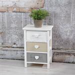 Regal 3 Schubladen Holzschrank grau/weiß Herz Pic:1