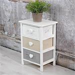 Regal 3 Schubladen Holzschrank grau/weiß Herz Pic:2