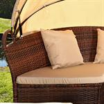 Garden Bed with Table Rattan Wicker Beach Chair Polyrattan Basket Sun Lounger Pic:1