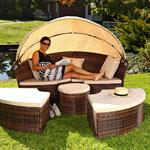 Garden Bed with Table Rattan Wicker Beach Chair Polyrattan Basket Sun Lounger Pic:4