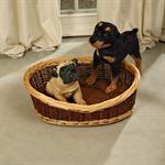 70cm Dog Bed Puppy Basket Pet Sofa Sleeping Willow + Cushions Brown/Natural