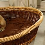 70cm Dog Bed Puppy Basket Pet Sofa Sleeping Willow + Cushions Brown/Natural Pic:2
