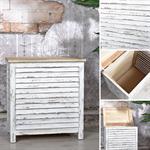 Truhe Lamellenfüllung Holz weiß/hellbraun
