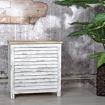 Truhe Lamellenfüllung Holz weiß/hellbraun Pic:1