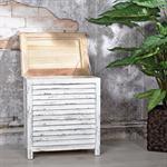 Truhe Lamellenfüllung Holz weiß/hellbraun Pic:2