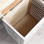 Truhe Lamellenfüllung Holz weiß/hellbraun Pic:4