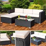 Polyrattan Lounge Gartengarnitur Sofa schwarz
