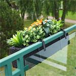 Rattan Flower Box Balcony Trough Polyrattan Plant Pots Plant Inserts Black Pic:1