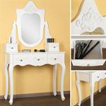 Dressing Table White Antique Style + Mirror Wooden Vanity Table Baroque Style