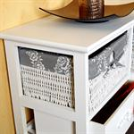 Country House Commode Cabinet Sideboard Hall Bath Shelf White 3 Baskkets Grey Pic:1