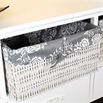 Country House Commode Cabinet Sideboard Hall Bath Shelf White 3 Baskkets Grey Pic:3