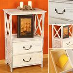 Rack Shabby White 2 Drawers Rack Shelf Unit High Rack Dresser Cupboard