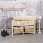 Sitzbank Shabby beige mit 2 Körben und Schubladen Pic:1