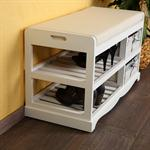 Shoe Cabinet Bench with Baskets Wood Cushions Bench Shoe Rack White Settle Pic:1