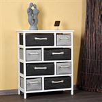 Country Style Dresser Sideboard Closet Bathroom Cabinet Shelf White + 8 Baskets