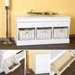 100 cm Country House Commode 2 Drawers Bench Shlef Chest Coffin Hall White seat