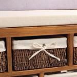 Sitzbank Kommode mit 5 Körben shabby braun Pic:3