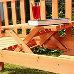 Gartenbank Sitzbank Holzbank mit klappbarem Tisch Pic:2
