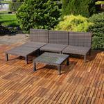 Polyrattan Lounge Couch Gartengarnitur Braun Pic:2
