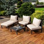 Polyrattan Lounge Couch Gartengarnitur Braun Pic:3