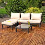 Polyrattan Lounge Couch Gartengarnitur Schwarz Pic:1
