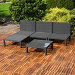 Polyrattan Lounge Couch Gartengarnitur Schwarz Pic:2