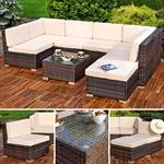 Polyrattan Sofa Sitzgruppe Lounge braun