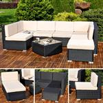 Polyrattan Sofa Sitzgruppe Lounge schwarz