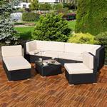 Polyrattan Sofa Sitzgruppe Lounge schwarz Pic:4