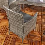 Poly Rattan Sitzgruppe 6 Stühle + Tisch in Grau Pic:2