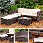 Polyrattan Garnitur Lounge Set Sitzmöbel braun