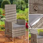 Verstellbarer Polyrattan Sessel inkl. Kissen Grau