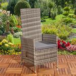 Verstellbarer Polyrattan Sessel inkl. Kissen Grau Pic:1