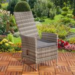 Verstellbarer Polyrattan Sessel inkl. Kissen Grau Pic:2