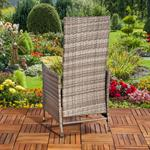 Verstellbarer Polyrattan Sessel inkl. Kissen Grau Pic:5