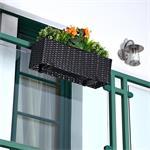 60cm Rattan Flower Box Balcony Trough Polyrattan Plant Pots Plant Inserts Black
