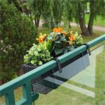 60cm Rattan Flower Box Balcony Trough Polyrattan Plant Pots Plant Inserts Black Pic:1