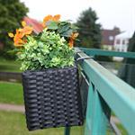 60cm Rattan Flower Box Balcony Trough Polyrattan Plant Pots Plant Inserts Black Pic:2