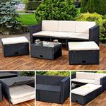 Polyrattan Garnitur Lounge Set Sitzmöbel schwarz