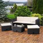 Polyrattan Garnitur Lounge Set Sitzmöbel schwarz Pic:1