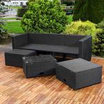 Polyrattan Garnitur Lounge Set Sitzmöbel schwarz Pic:2
